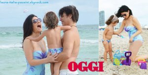 Laura Pausini avec fille Paola et son petit ami Paolo Carta à Miami Beach