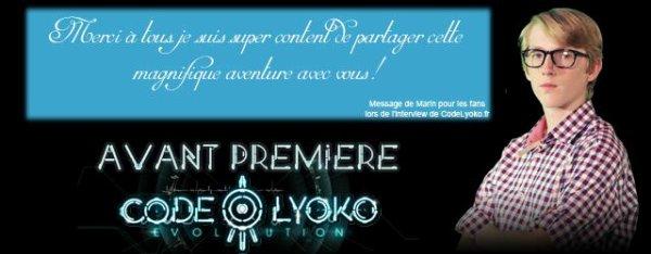 Message des acteur de code lyoko evolution à l avant premiere