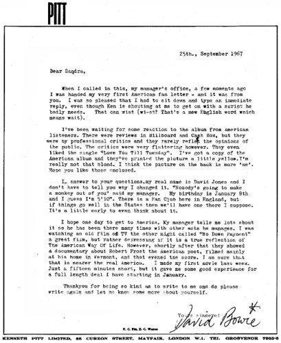 La lettre de réponse de David Bowie à sa 1ère fan Américaine