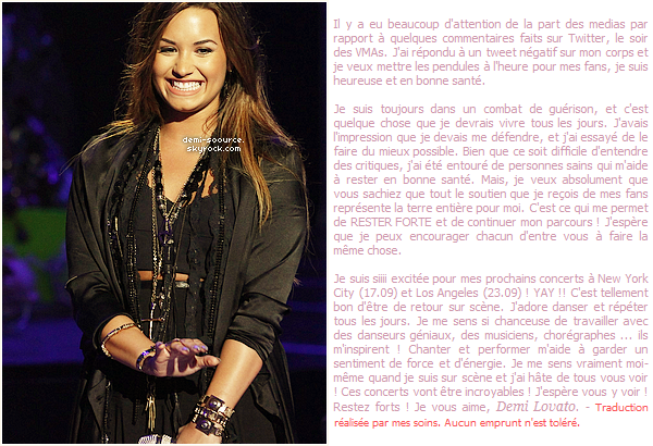 * Demi a rédigé un article pour Seventeen, expliquant  comment elle reste forte face aux critiques.  (article associé) *