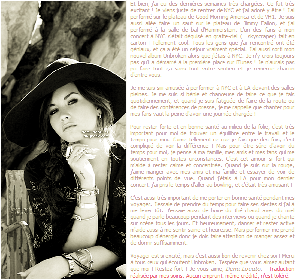 * Demi a rédigé un article pour Seventeen : trouver du temps  pour moi au milieu de mon planning chargé. (article associé) *