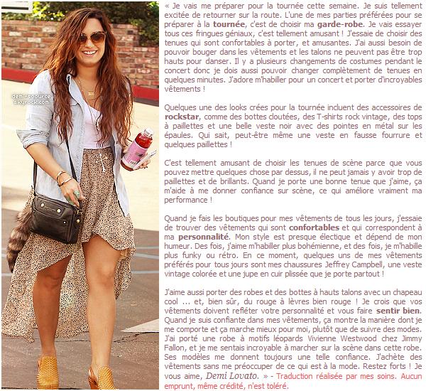 * Demi Lovato a rédigé un article pour Seventeen sur comment se sentir bien dans ses vêtements.  (article associé) *