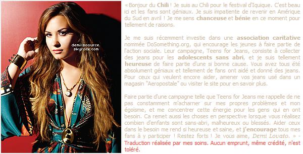 * Demi Lovato a rédigé un nouvel article pour Seventeen lorsqu'elle était au Chili. (article associé) *