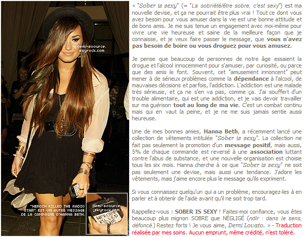 * Demi Lovato a rédigé un nouvel article pour Seventeen à propos de SOBER IS SEXY. (article associé) *