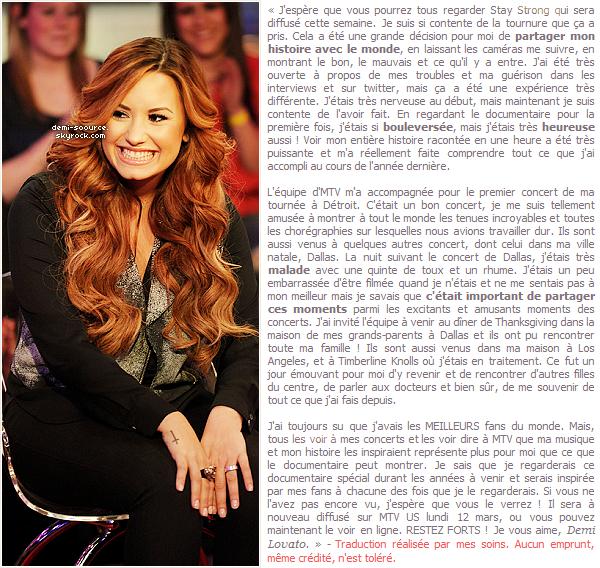 * Demi Lovato s'exprime sur le tournage du documentaire MTV dans un nouvel article pour Seventeen. (article associé) *