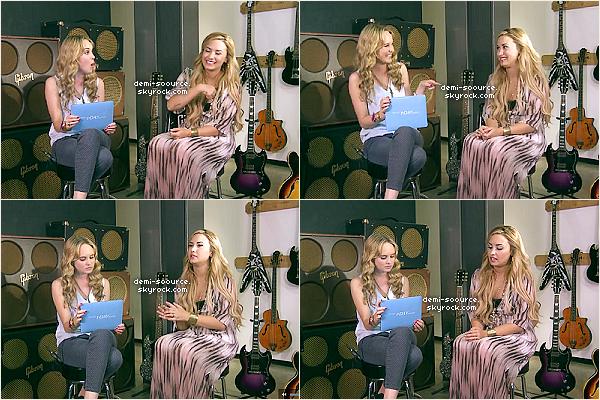 """*  16.05.2012 : Demi Lovato était en livechat pour la campagne    Acuvue One Day Contest, aux côtés de Meghan Martin.  *   Demi Lovato a évoqué sa tournée en Amérique du Sud, qui a été incroyable mais elle est tombée malade et a dû assurer les concerts malgré tout. / Une journée banale dans la peau de Demi Lovato (bien qu'elle en ai peu, du fait de son emploi du temps chargé) se résume à se lever, faire de l'exercice, aller à son bar à jus favori, traîner avec ses amis ... / Si elle n'était pas une chanteuse/actrice, elle voudrait probablement être compositrice car elle aime beaucoup l'univers de la musique. / Son conseil pour quelqu'un qui est intimidé est de rester fort et de """"tendre l'autre joue"""", parce que ça n'arrangera rien de se rabaisser au niveau de ceux qui intimident, et rester positif et en parler. / Sa """"célébrité coup de coeur"""" du moment est un acteur qui joue un loup dans True Blood (Joe Manganiello). / La chanson qu'elle préfère parmi les siennes est Fix a heart, en ce moment. / Pendant son temps libre, mise à part faire de la musique ou composer, elle peint pour se vider la tête (Elle a d'ailleurs offert sa plus belle oeuvre d'art à son ex-petit ami). / Son souvenir inoubliable parmi tous ses concerts est lorsque les fans se sont rués sur la scène (vidéo), au Paraguay, et qu'elle a couru en coulisses parce qu'elle était effrayée. / Elle compte rester blonde pendant un moment, ou redevenir brune. Le roux/rouge était une expérience. / Elle est toujours nerveuse avant de monter sur scène, et prie une demi-heure avant, avec son équipe. / Country est la meilleure musique à écouter l'été parce que les compositeurs country écrivent les plus belles et inspirantes chansons, selon elle. / Sa couleur préférée pour les ongles, en ce moment, est le transparent ou le rose pâle. / Son hobbie du moment est l'équitation. Elle aimerait aussi faire comme sa petite soeur, c'est à dire, de l'acrobatie. - Texte par mes soins. Aucun emprunt, même crédité, n'est toléré. *"""