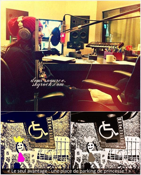 *   « Rien ne m'arrête d'aller au studio ! » - Demi Lovato via Twitter. (05/02)    + Demi Lovato, à cause de ses béquilles, peut se garer sur une place handicapée.    *