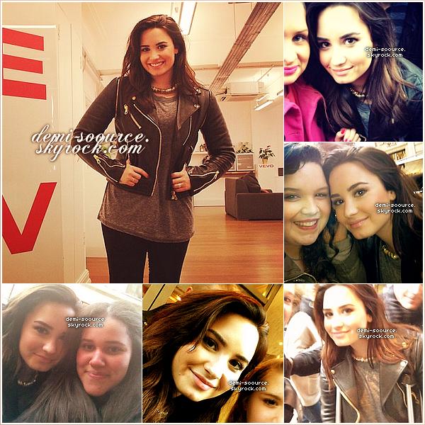 *  19.02.2013 : Demi Lovato s'est rendue aux studios VEVO, toujours à Londres.     Elle a répondu à de nombreuses questions de fans via le twitter @VEVO_UK. (lire les questions/rep.)  *