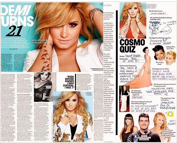 * Demi Lovato fait la couverture du mois d'août 2013 du magazine « Cosmopolitan ».         *
