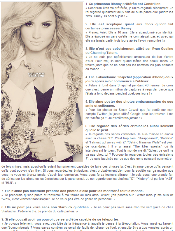 * Demi Lovato révèle 16 choses à son sujet dans une récente interview pour BuzzFeed Celeb.       *