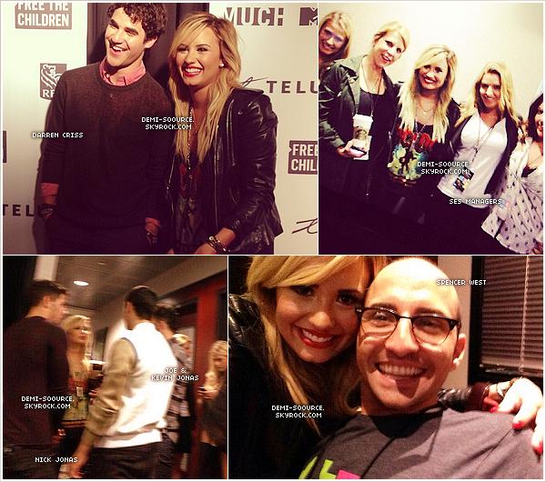 *20.09.2013 : Demi Lovato a assisté à l'évènement  We Day 2013, à Toronto. (Canada)  Elle a chanté Skyscraper, accompagnée par Darren Criss et la chorale masculine du Kenya; puis Neon Lights. *