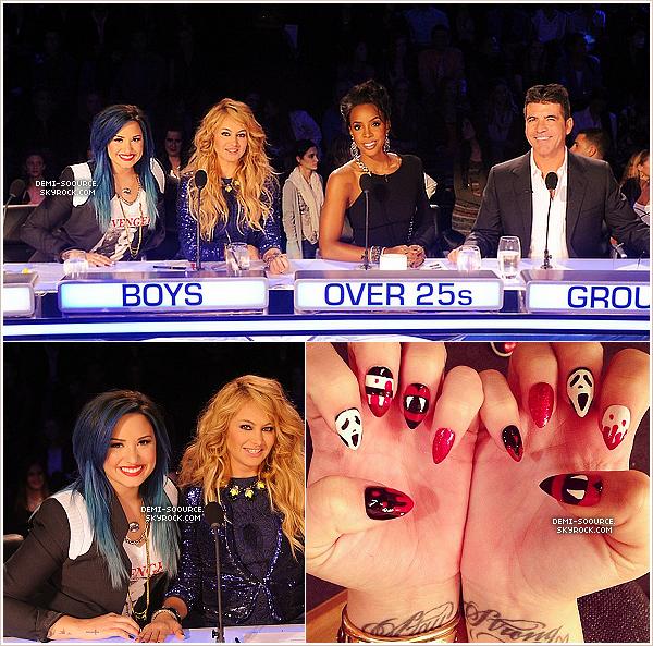 *29.10.2013 : Le premier live show d'X Factor USA saison 3 a eu lieu, à Los Angeles. _____________Chaque mentor a éliminé un de ses 4 candidats. Demi a décidé de se séparer de Danielle Geimer. *