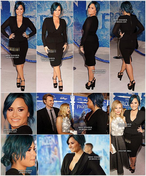 """*19.11.2013 : Demi a assisté à la première du film Disney """"Frozen"""", à Los Angeles. *"""