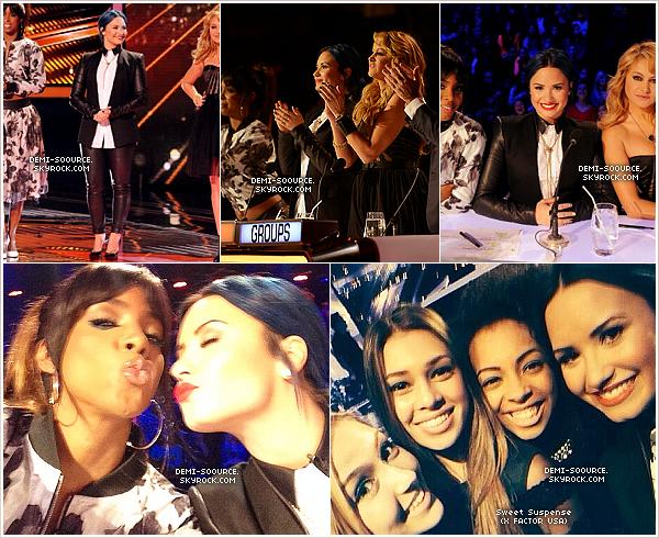 *04.12.2013 : Comme chaque semaine, Demi a assisté au live show d'X Factor USA. *