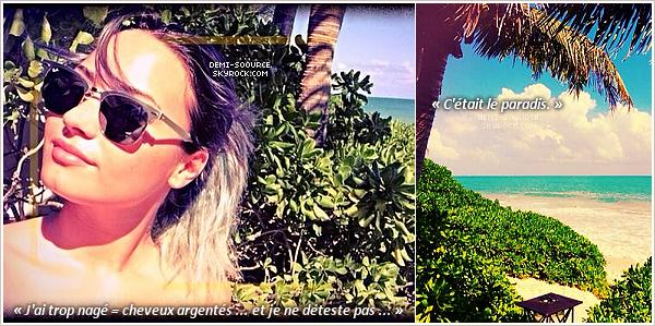 *14.01.2014 : Demi a tweeté des photos; elle serait actuellement sur une île privée, avec Wilmer. *