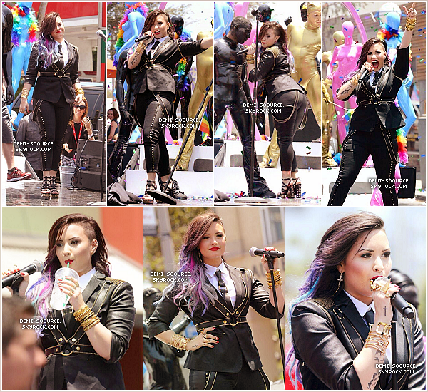 "*  08.06.2014 : Demi a participé à la parade de la Gay Pride, à Los Angeles. Elle a tourné son clip ""Really don't care"" pendant qu'elle défilait lors de la parade. *"