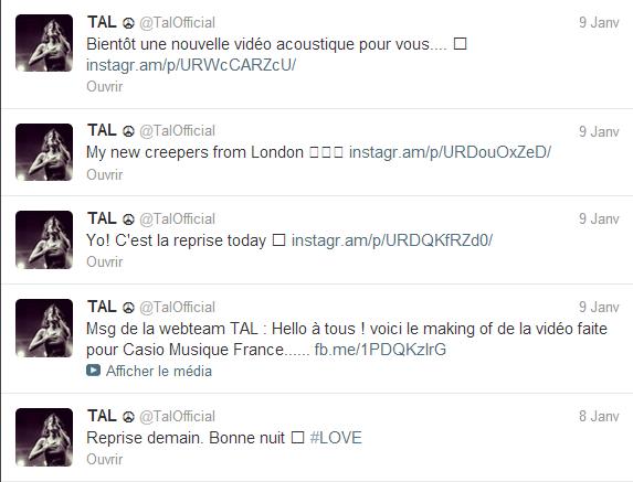 Twitter: Tal le 09 et 08/01/2013.