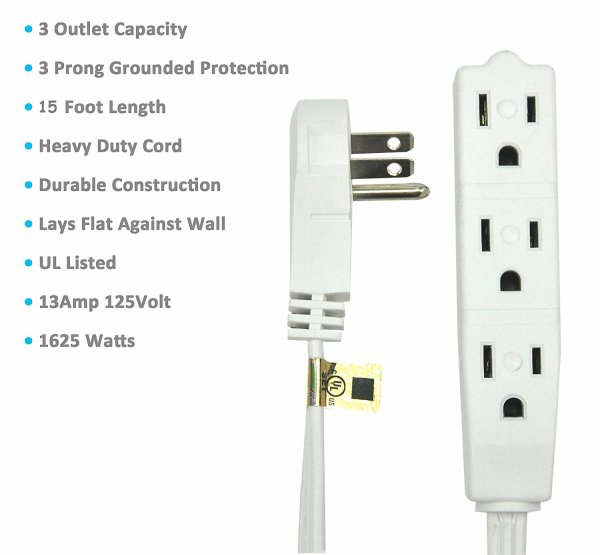 BindMaster 15 Feet Extension Cord / Wire, 3 Prong Grounded, 3 outlets, Angeled Flat Plug , White