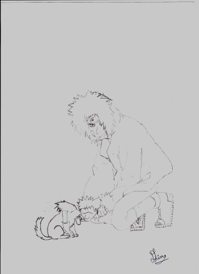Dessin n°7 (Kiba et Akamaru)