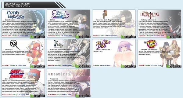 Les sorties des animes de l'hiver 2012/2013