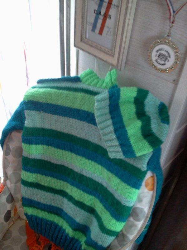 pull et bonnet en 6ans que j ai fais pour mon petit fils