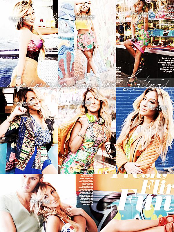 Voici un photoshoot d'Adrienne pour le Cosmopolitan For Latinas, le numéro printemps 2013 dont Eva Longoria fait la couverture. Les photos sont magnifiques et très colorées j'aime beaucoup.