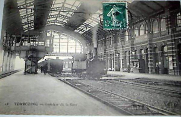 TOURCOING  - INTERIEUR DE LA GARE  1909