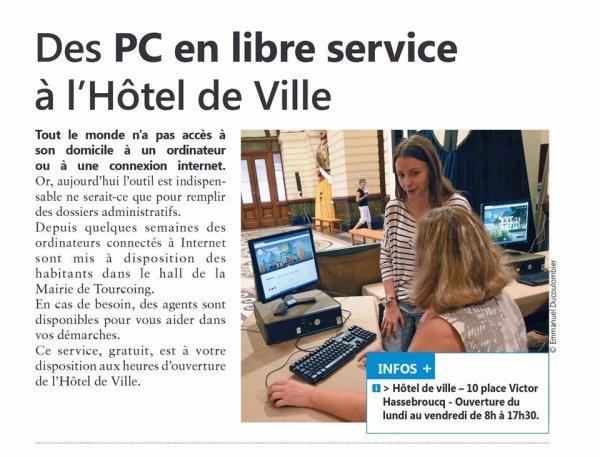 A la Mairie de Tourcoing des ordinateurs sont à votre disposition