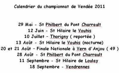 Le calendrier du championnat de Vendée 2011