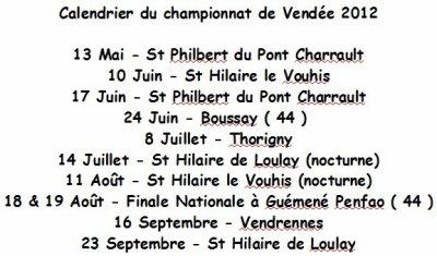 Le calendrier du championnat de Vendée 2012