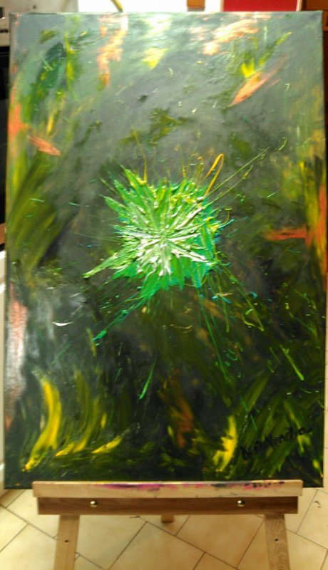 ''Soleil vert'' 60x90 toile coton