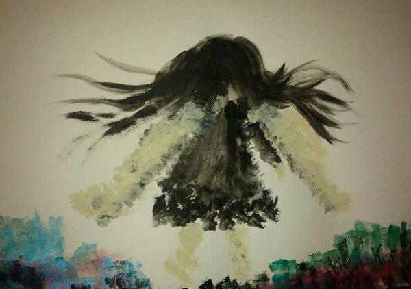 ''Ange noir'' 30x30 Acrylique