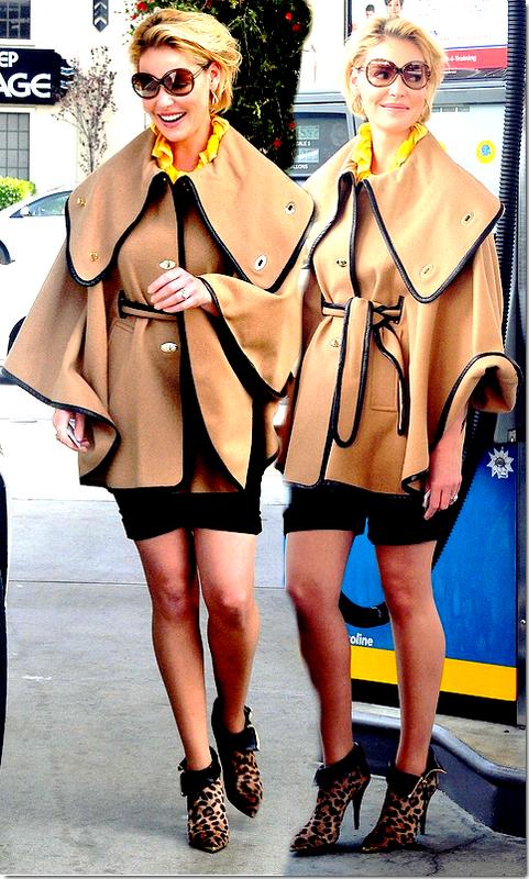 Katherine Heigl : A la station d'essence, elle a opté pour une tenue que elle seule peux comprendre ... Disons que si on enlève sa tête , dont ses affreuses lunettes, sa tenue est originale voire jolie !