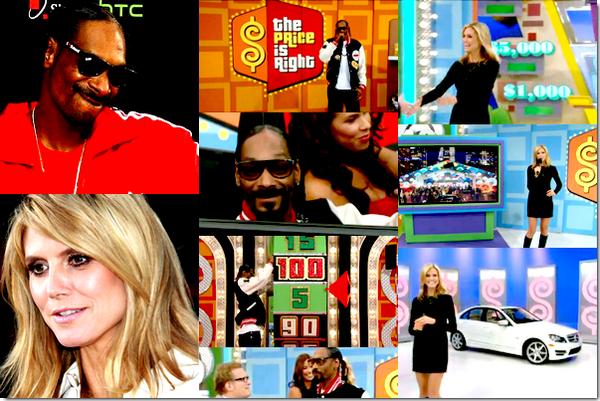 Snoop Dogg & Heidi Klum étaient les guest du célèbre jeu télévisé, The Price Is Right, Le Juste Prix chez nous. Si Snoop y est venue pour récolter des fonds pour sa Snoop Youth Football League, sa ligue de jeunes de football américain qui connaît de sérieux problèmes financiers, Heidi a fait un passage éclair au début du jeu !