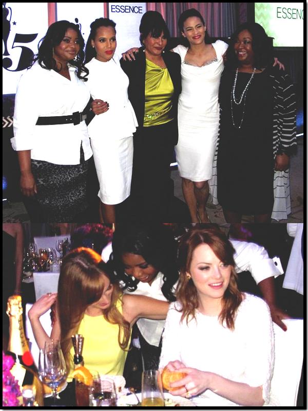 """People : Nombre d'entre eux était présent lors d'un déjeuner organisé par le magazine Essence Black Women qui honorait """"les femmes afro-américaines au talent brillant comme Kerry, Pam, Paula, Octavia et Shonda, et de célébrer leur travail collectif comme source d'inspiration pour les générations à venir"""" a déclaré Constance Blanc, rédactrice en chef du magazine .   Ce déjeuner qui se tenait à Hollywood a réunis beaucoup de people . Parmis ces people on pouvait retrouver entre autre le cast du film """"The Help"""", Emma Stone, Viola Davis et Octavia Spencer, qui sont nominés aux Oscar qui se tiendront ce dimanche ."""