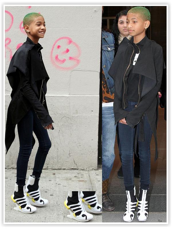 Willow Smith : Elle s'est fait remarquée à New York non pas pour son crâne vert mais pour sa paire de Adidas Y-3 Oriah ankle créer par Yohji Yamamoto ! She Rocks !