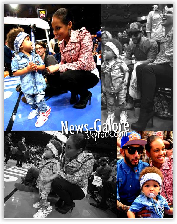 Alicia Keys & Swizz Beatz à un match de basket, au Madison Square, accompagné de leur fils de 2 ans Egypt ! Il grandis aussi vite que ses cheveux poussent !