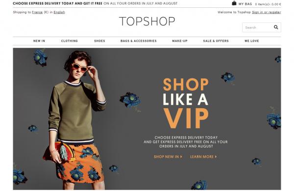 Les meilleurs E-Shop : Topshop