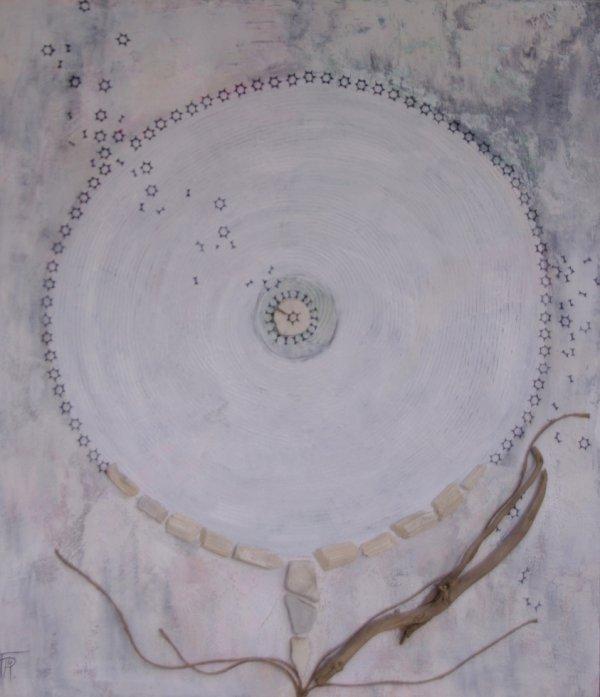 FLEUR D'EAU - Tableau acrylique 80x70 cm