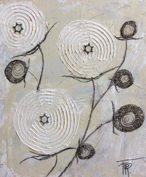 EN FLEUR - Tableau acrylique 25,5x21,5 cm