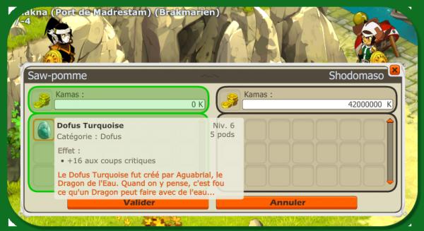 Acquisition, Dofus Turquoise +16