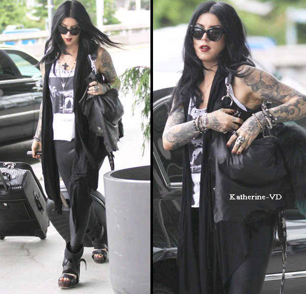 """Former reality show star Kat Von D was spotted out for a morning stroll in Vancouver, Canada on June 21, 2012. Kat was wearing what she described on her Twitter as """"Leopard print power!"""""""