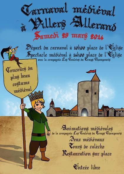 La Cie des Couloirs du Temps Champenois seront au Carnaval de Villers-Allerand le Samedi 29 Mars 2014 de 10h00 à 17h00