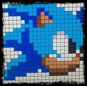 Un pixel art de Sonic pour Teammangaampt