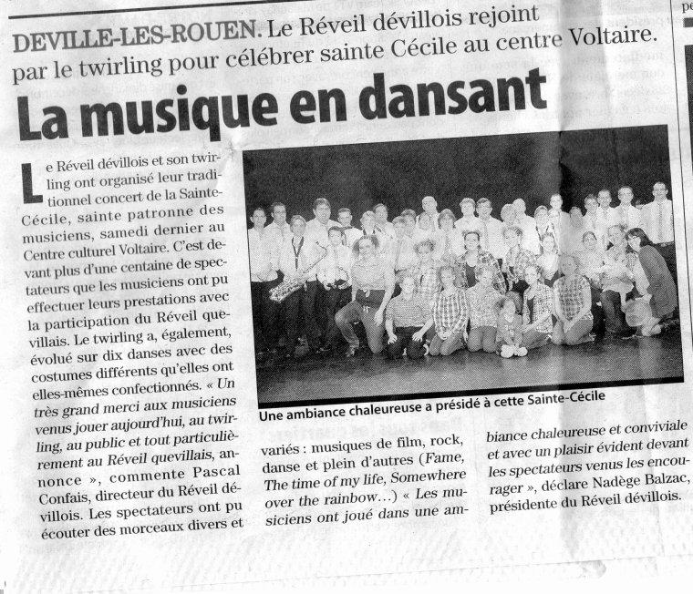 Le réveil Devillois & son Twirling dans le Paris-Normandie.