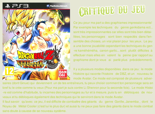 Critique jeu: Dragonball Z ultimate tenkachi ps3