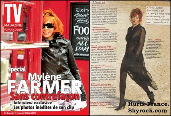 """Mylène Farmer à accordé une interview au magazine """" TV Magazine """" & elle parle de Hurts mais aussi de la voie de Theo ."""