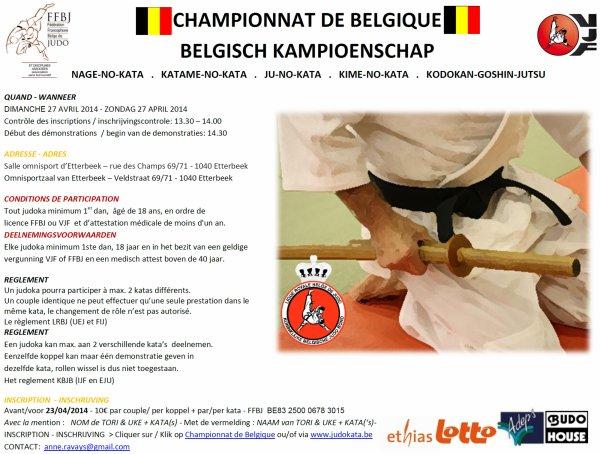 Invitation...Les Championnats de Belgique Kata 2014 de la L.R.B.J. (VJF & FFBJ) à Bruxelles...