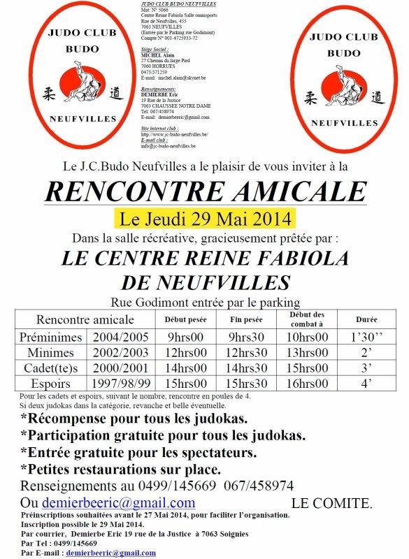 Invitation...Nos amis du Judo Club Budo Neufvilles nous invite à La Rencontre Amicale 2014 à Neuvilles