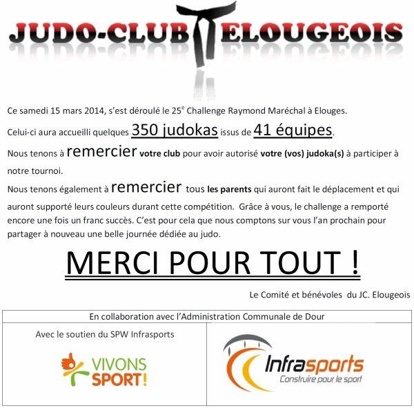 Un mail de remerciement pour la participation de notre club au Tournoi International d'Elouges 2014...